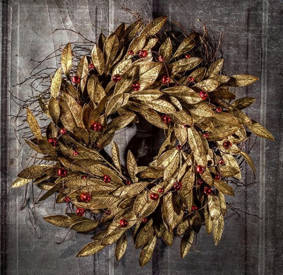 robin wood flowers. golden wreath